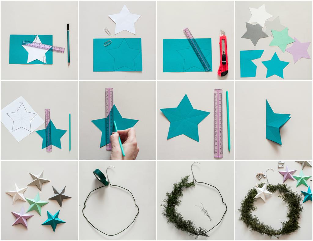 DIY Kerst krans 3D sterren