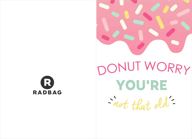 Verjaardagskaart printable - Donut worry, be happy