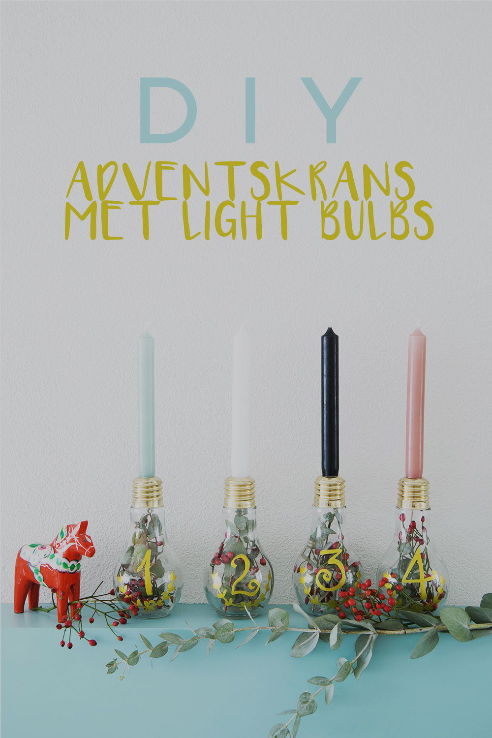 Diy adventskrans met LIght Bulbs