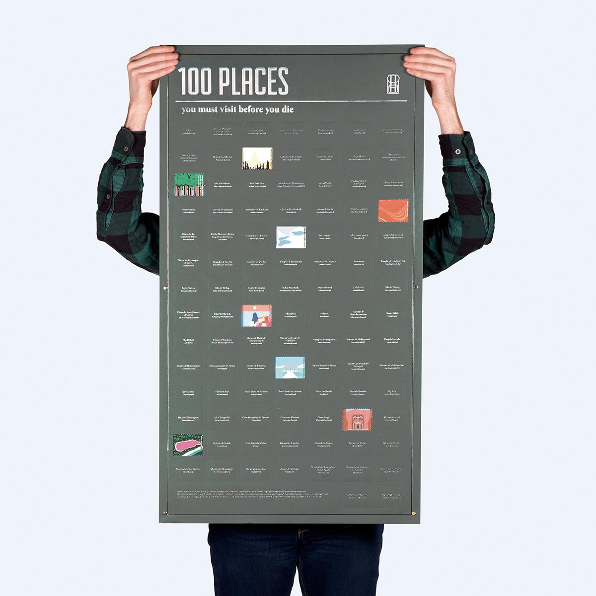 Poster 100 plekken die je in je leven bezocht moet hebben