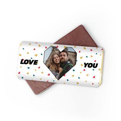 Personaliseerbare chocolade met foto hartje en tekst