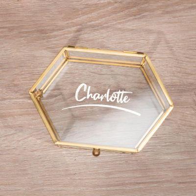 Glazen box met tekst