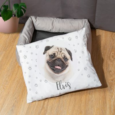 Hondenbed met foto en tekst