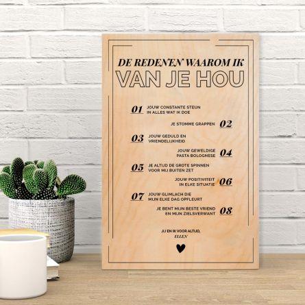 Personaliseerbare tekst op hout – waarom X de liefste is