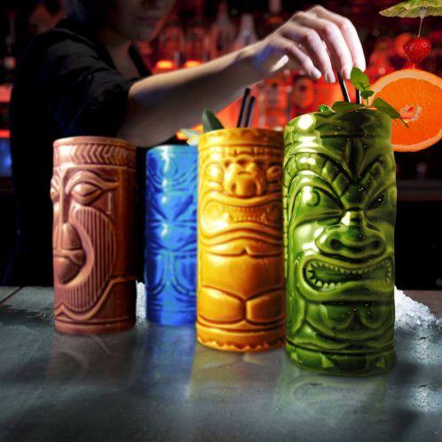 Cocktailbekers Tiki vrolijke set van 4