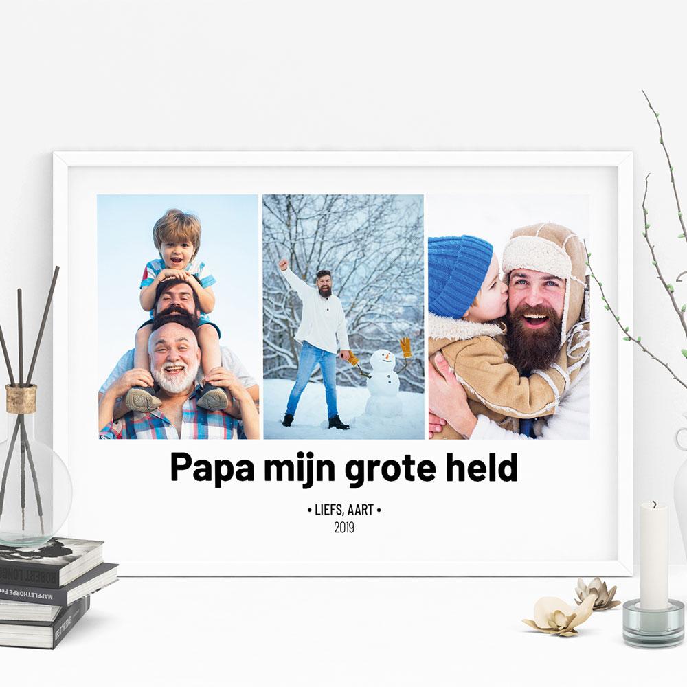 Poster met 3 foto's en tekst