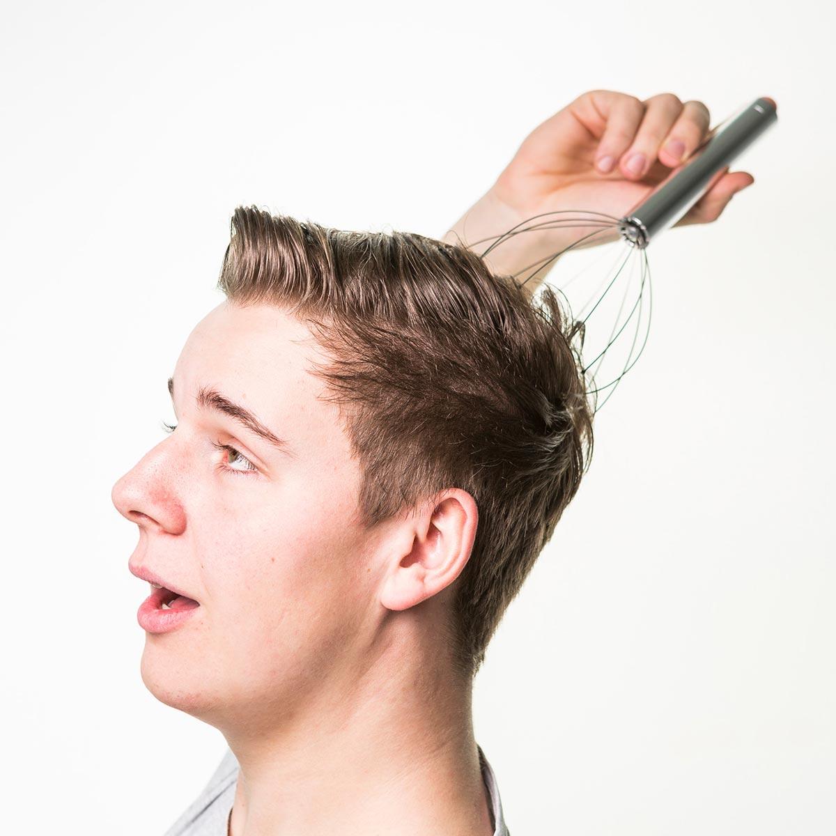 Afbeelding van Zilveren Dzine Angel Fingers massageapparaat voor het hoofd