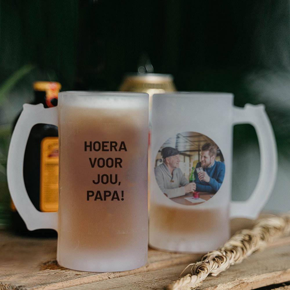 Vaderdag Cadeau bierpul met foto en tekst