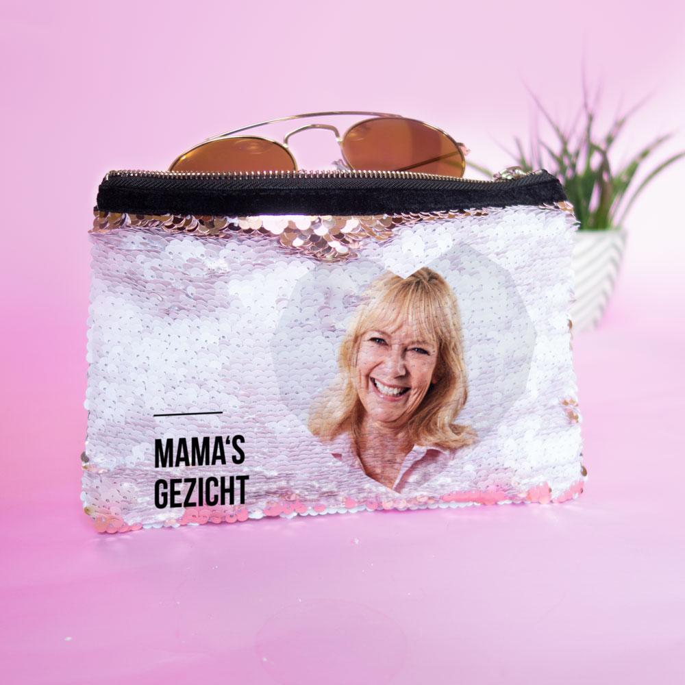 moederdag cadeau Personaliseerbare pailletten clutch met afbeelding en tekst