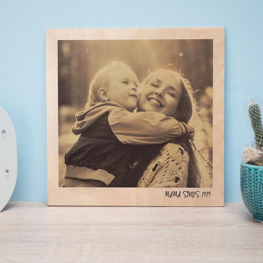 cadeau voor moeder Personaliseerbare foto op hout in polaroid look