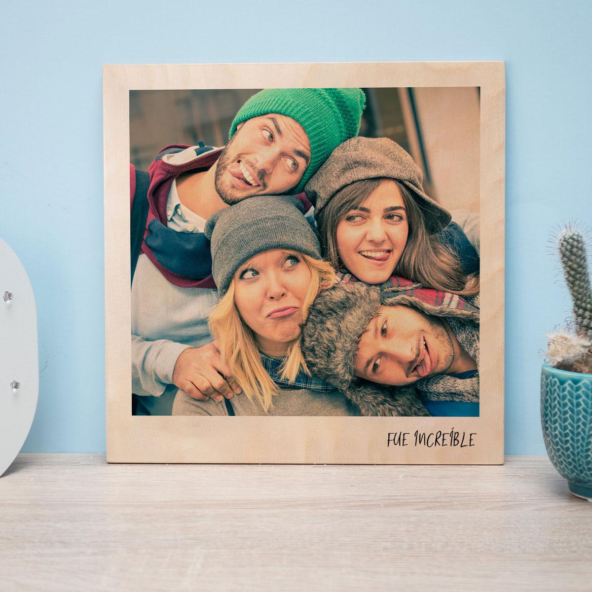 Kerstcadeau Personaliseerbare foto op hout in polaroid look