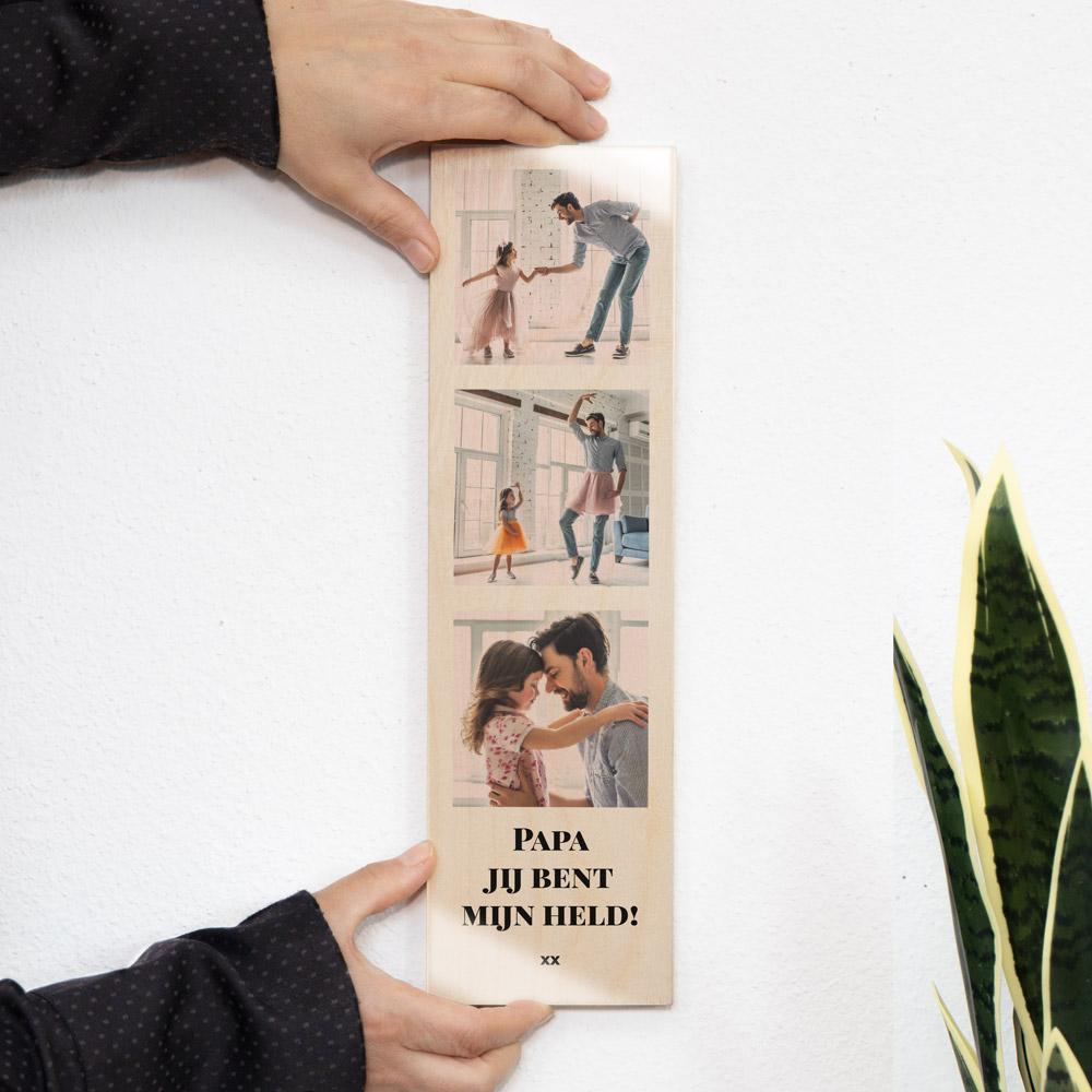 Vaderdag cadeau Smal houten schilderij met 3 foto's en tekst