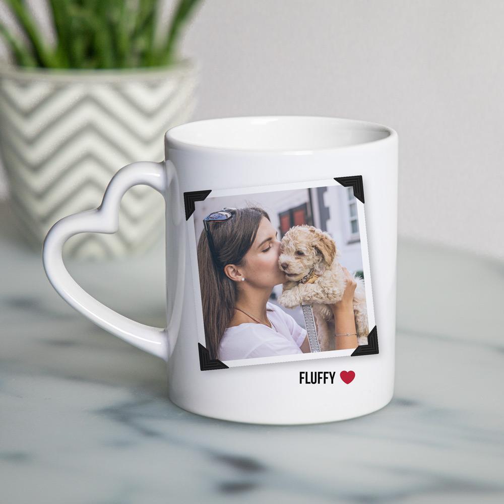 Huisdieren cadeau mok met hartvormig oor met foto en tekst