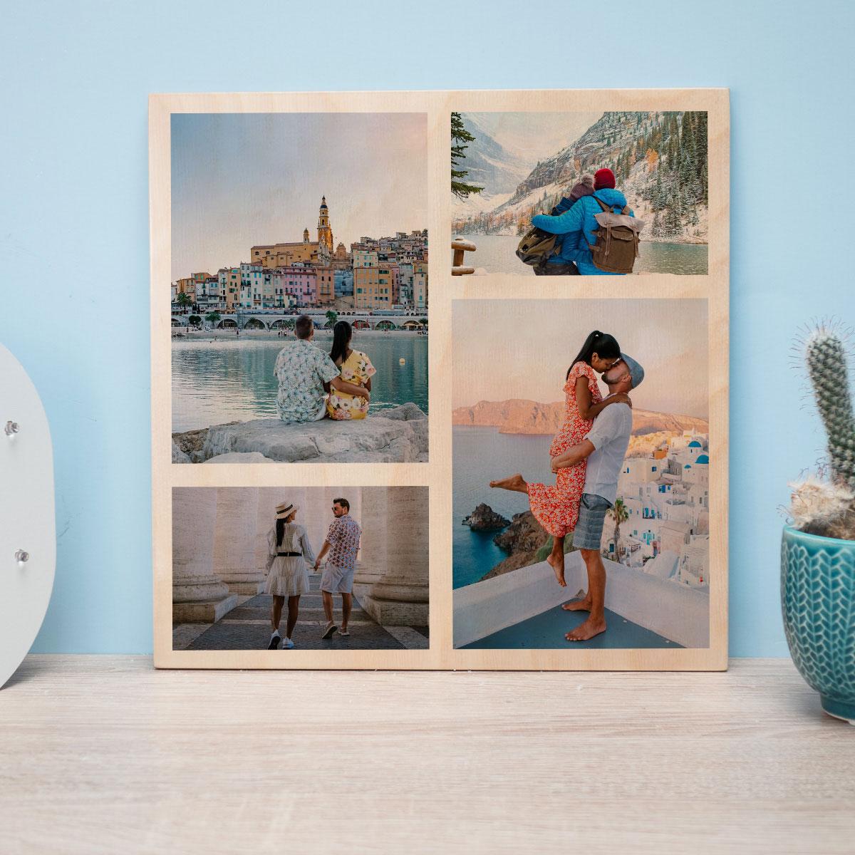 Huwelijkscadeaus 4 foto's op hout - personaliseerbaar