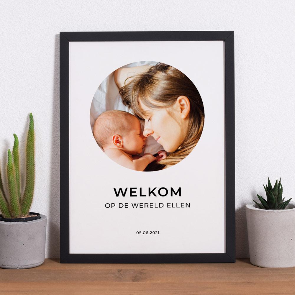 Moederdag Cadeau Poster met afbeelding en 3 tekstregels