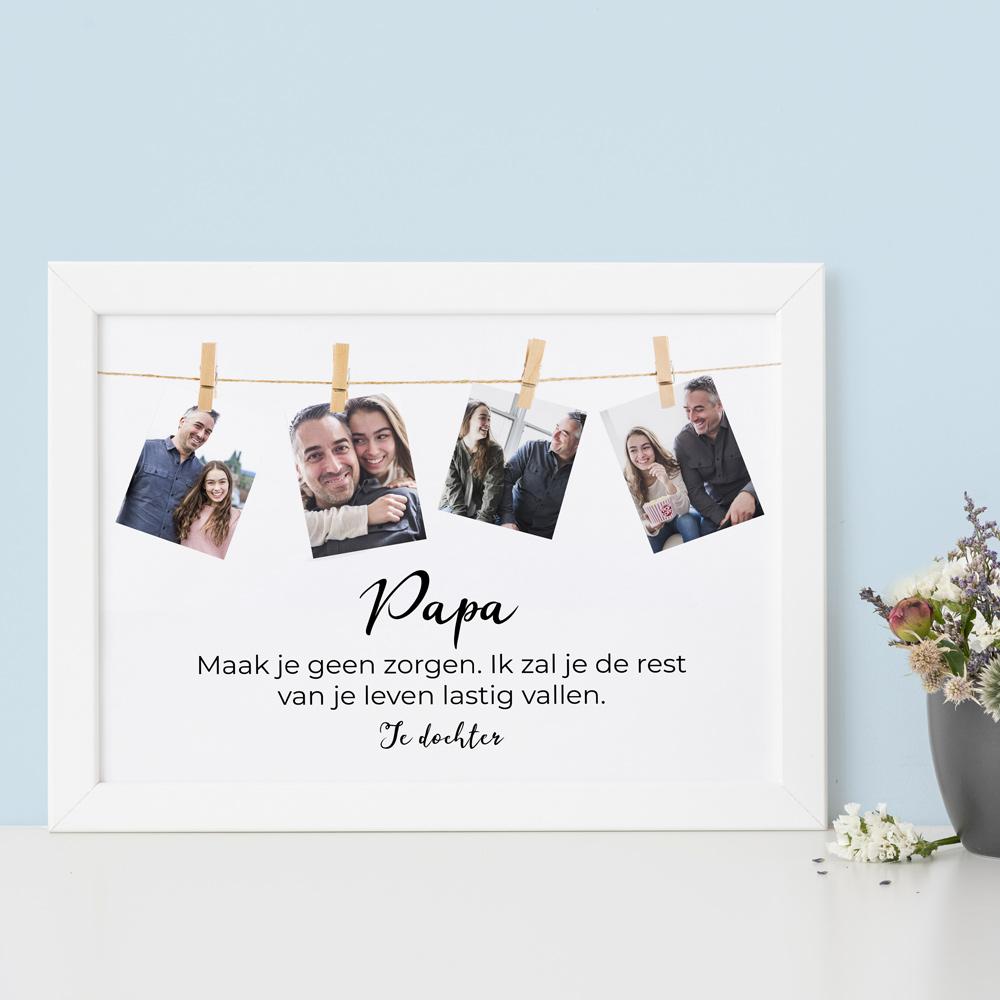 Vaderdag cadeau Poster met fotoslinger en tekst