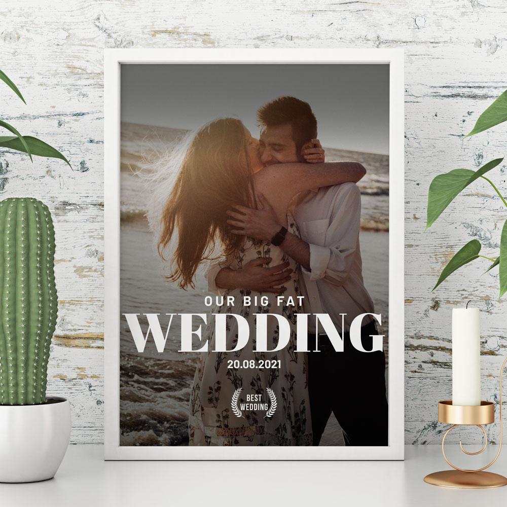 Huwelijkscadeau poster in filmposter stijl - Personaliseerbare