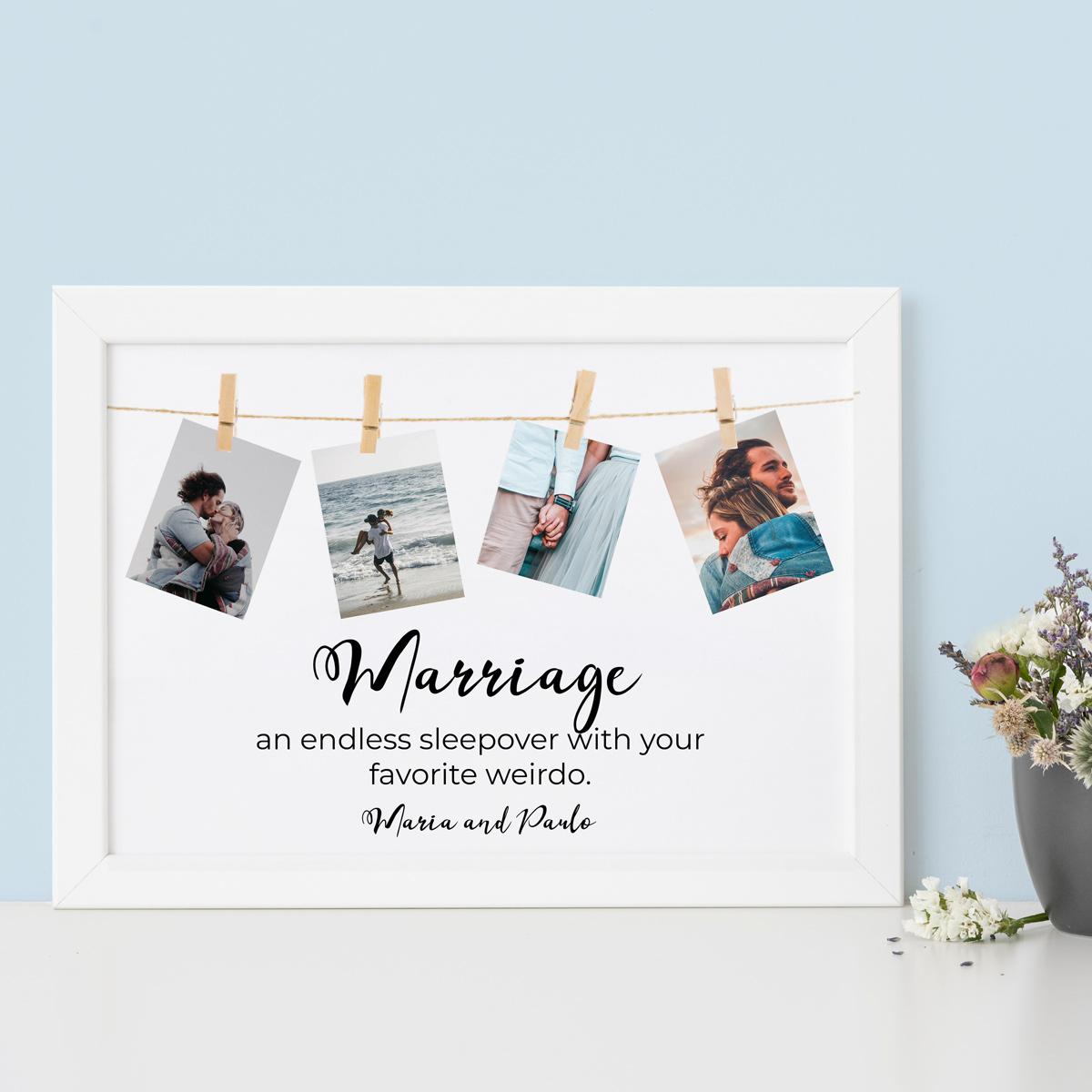 Huwelijkscadeau Poster met fotoslinger en tekst