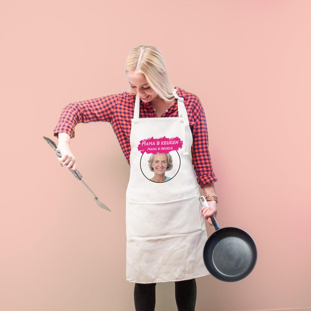 Moederdag Cadeau Personaliseerbaar keuken schort met kleur