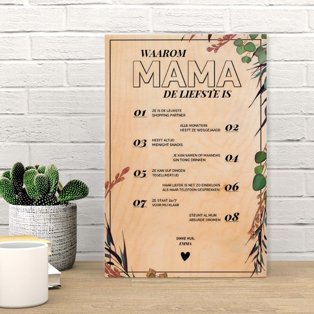 Cadeau voor moeder Personaliseerbare tekst op hout – waarom X de liefste is