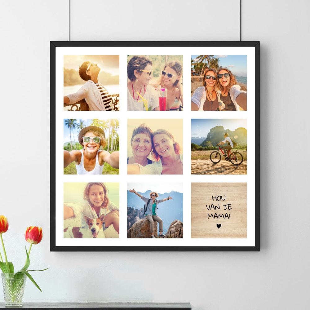 Moederdag Cadeau Personaliseerbare poster met 8 foto's en tekst