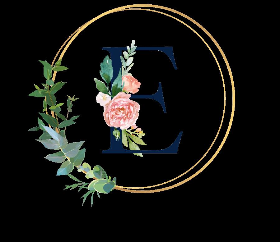 Bademantel Blumen Monogramm und Text - E