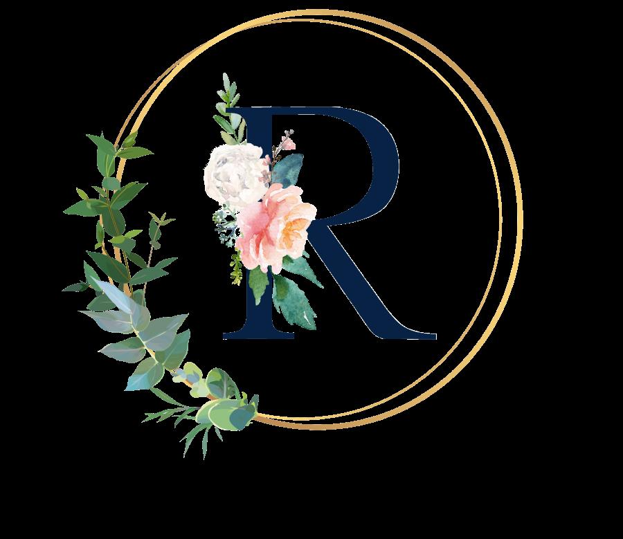 Bademantel Blumen Monogramm und Text - R