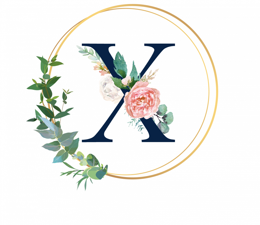 Bademantel Blumen Monogramm und Text - X