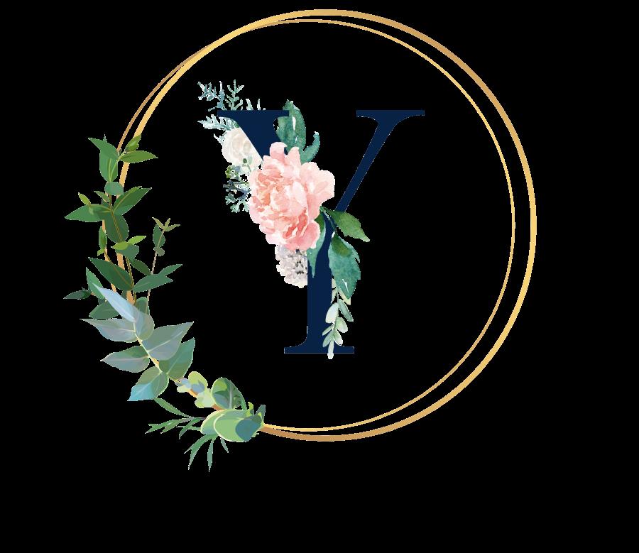 Bademantel Blumen Monogramm und Text - Y