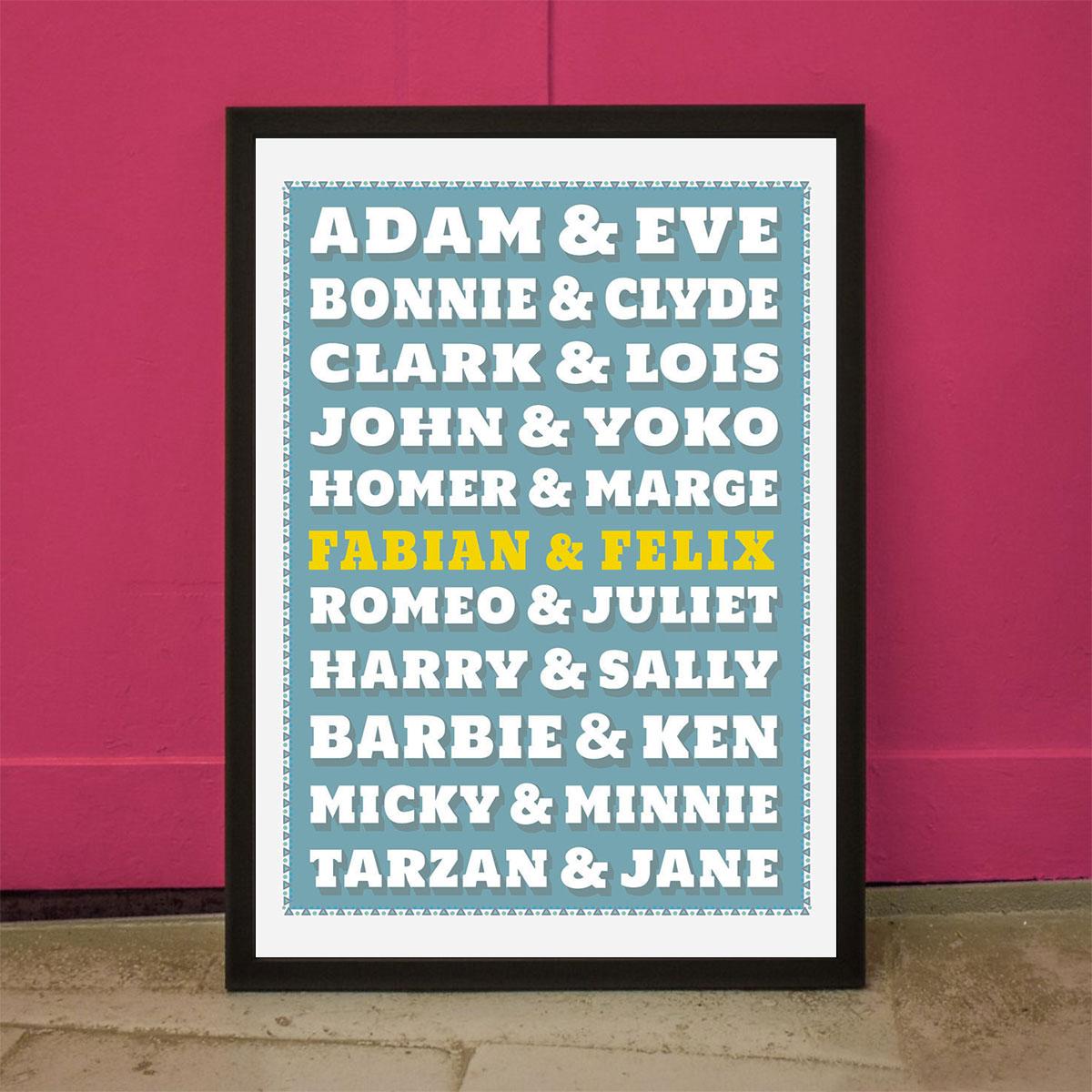 Beroemde paren personaliseerbare Poster