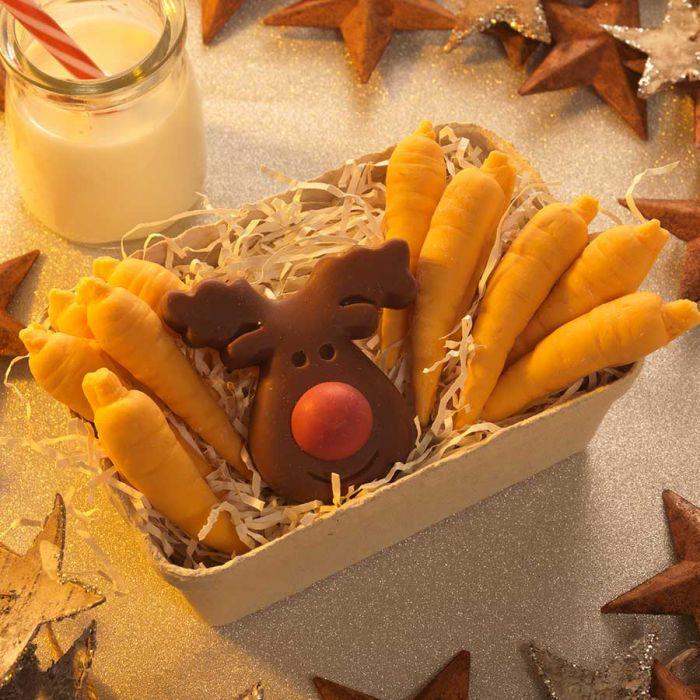 Rendier en wortelen van chocolade