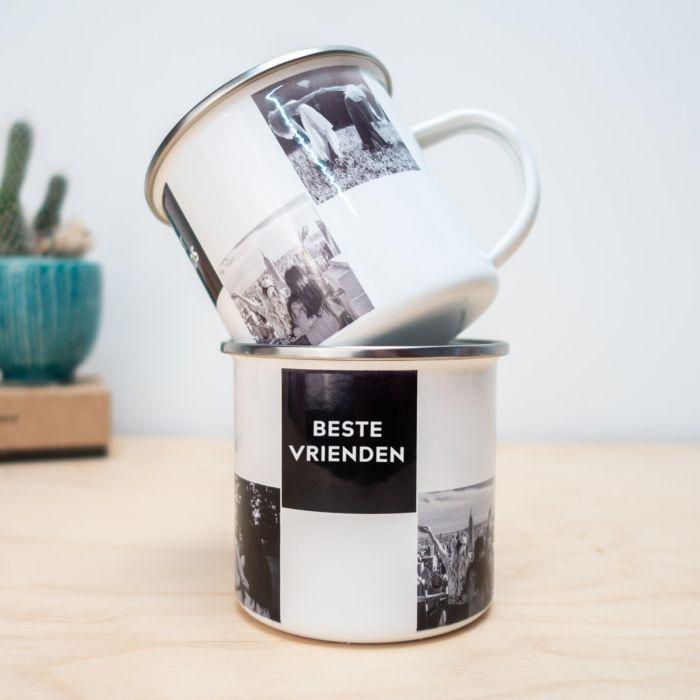 Personaliseerbare metalen mok met foto's en tekst