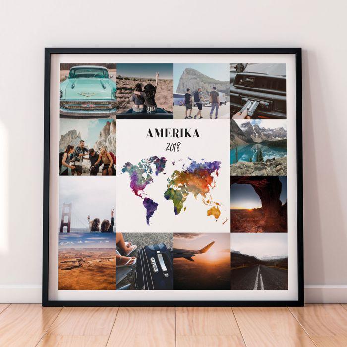 Personaliseerbare reis poster met 12 foto's