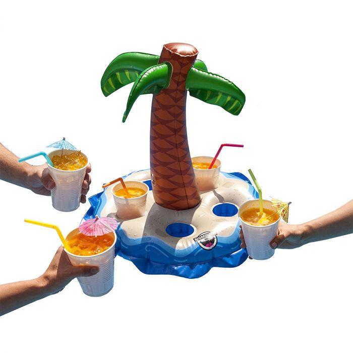 Opblaasbare bekerhouder met palmboom