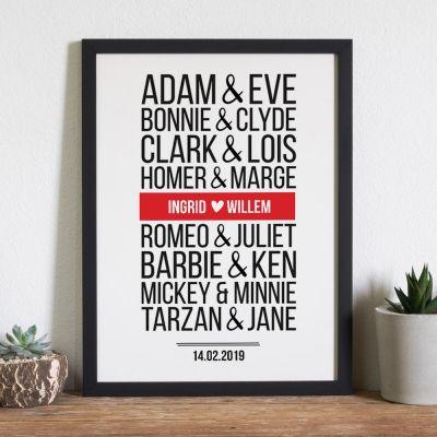 Beroemde koppels – personaliseerbare poster