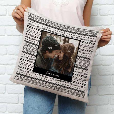 Personaliseerbare kussensloop met foto en tekst