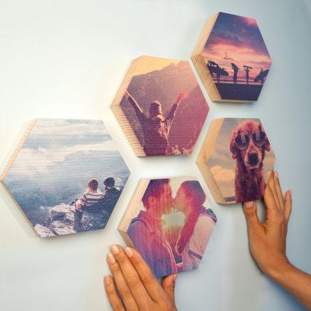 Personaliseerbare houten afbeelding - zeshoek