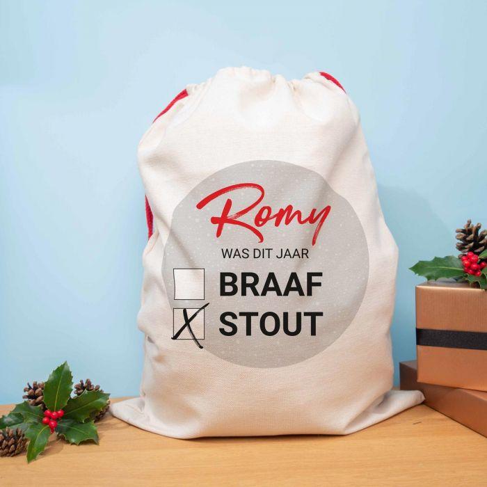 Personaliseerbare kerst zak braaf of stout