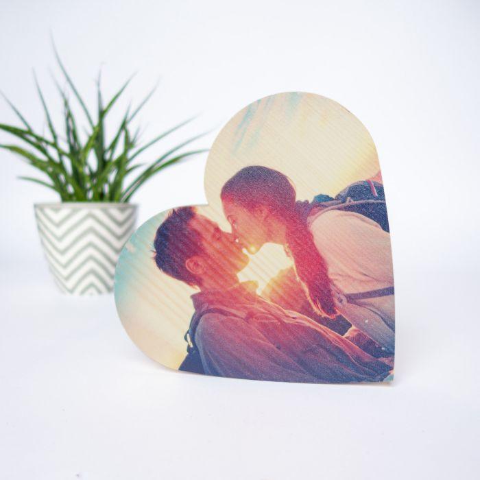 Foto op hout in hartvorm