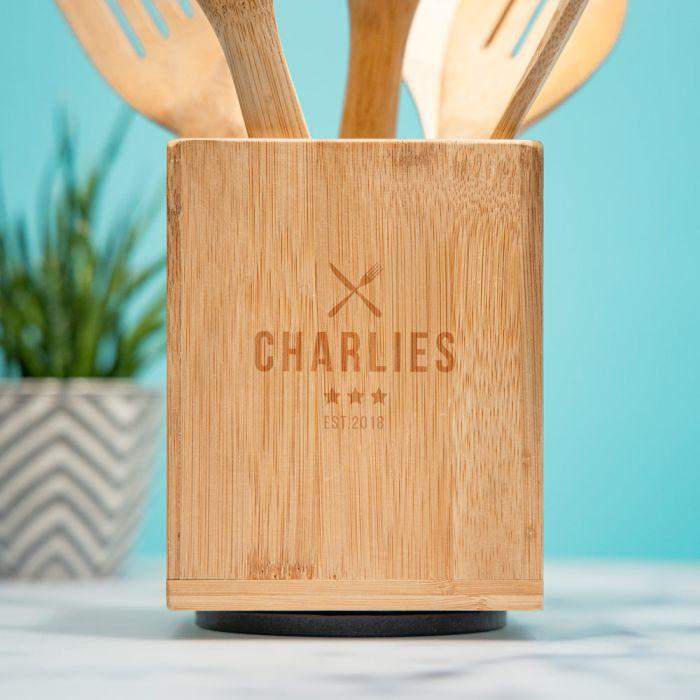 Personaliseerbare kooklepel set incl. box restaurant