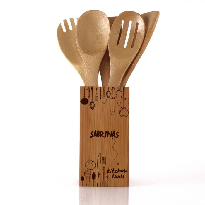 Personaliseerbares houten houder met keukengerei