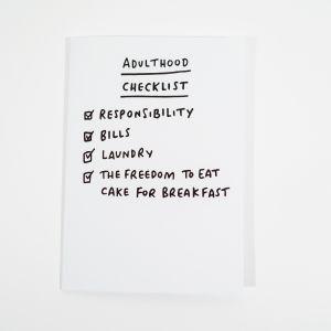 Adulthood checklist wenskaart