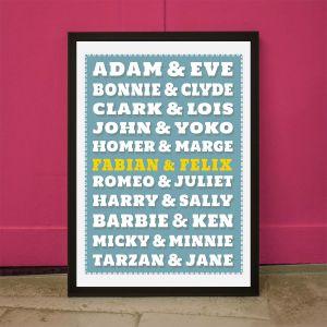 Beroemde paren – personaliseerbare Poster