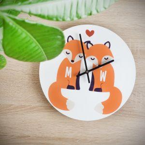 Personaliseerbare vos wandklok voor koppels