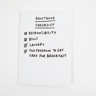 Cadeau voor zus - Adulthood checklist wenskaart