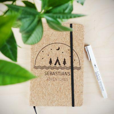 Gepersonaliseerd cadeau - Personaliseerbaar kurken notitieboek – Avontuur