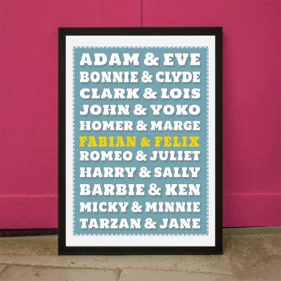 Huwelijkscadeau - Beroemde paren – personaliseerbare Poster