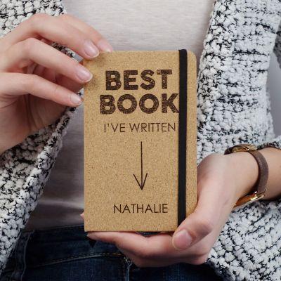 Verjaardagscadeau voor vriend - Personaliseerbaar kurken notitieboek - Best Book