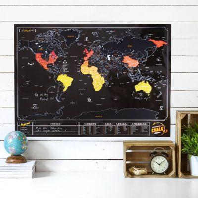 Huwelijkscadeau - Krasbare wereldkaart met krijtverf