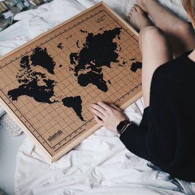 Cadeau voor vriend - Kurk-prikbord wereldkaart